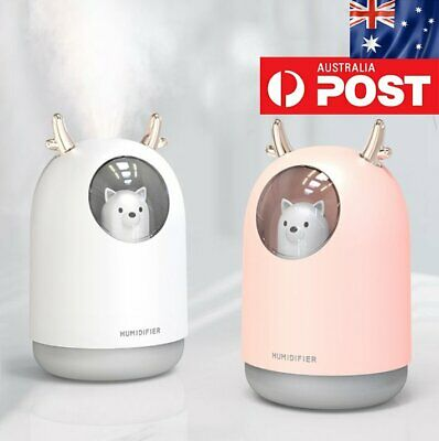 USB Air Humidifier 300ml LED Lamp Portable Mist Air Aromatherapy Diffuser