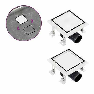 vidaXL Shower Drain With 2-in-1 Flat and Tile Insert Cover Stainless Steel