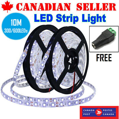 10M Flexible LED Light Strip 300/600 6000K Unit LEDs Waterproof DC12V Light Tape