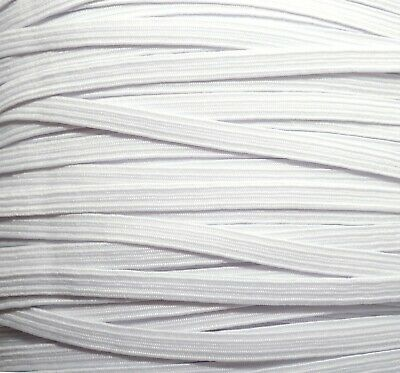 One Metre Of Soft, Stretchy, Flat Elastic, White Colour, 6 Mm Wide, Made In Uk