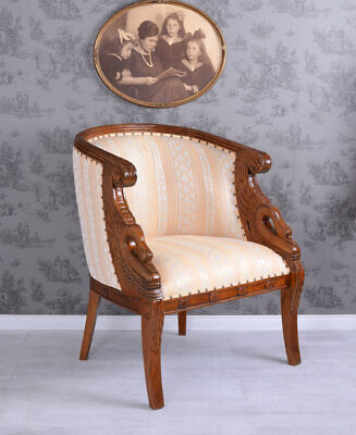 Royal Armchair Empire Style mahogany padded chair solid wood swan heads handmade