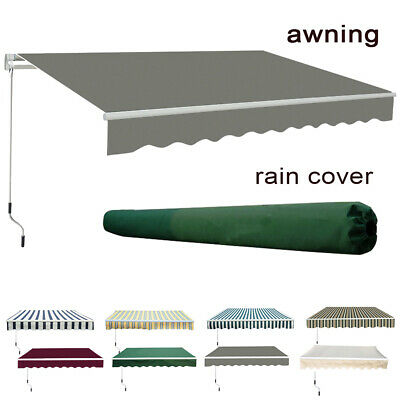 Garden Patio Manual Awning Sun Shade Shelter Retractable Canopy Free Rain Cover