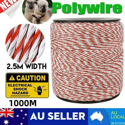 1000m Roll Polywire Electric Fence Rope Fencing Poly Tape Farm Grazing Control_