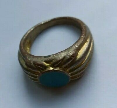 Beautiful Post-Medieval Gilded Ring With Turquoise Stone Inset