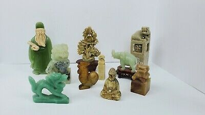 Assortment Of Jade And Stone Figurines And Statues Lot ( 10)