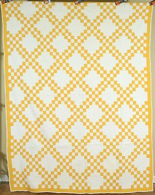 WELL QUILTED 1890's Cheddar Yellow & White Triple Irish Chain Antique Quilt!