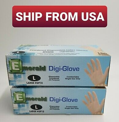 Large Latex Gloves *Lightly Powdered* 200 Count [LGLX2]