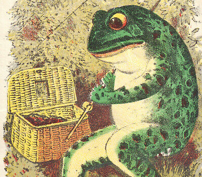 Frog ©1882 Antique Fishing Creel Rod Larkin Soap NY Victorian Trade Card fantasy