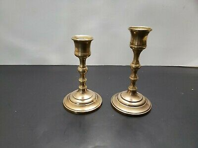 TWO - Heavy Antique Solid Brass Oval Candlesticks Candle Holders