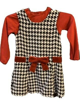 Blueberi Boulevard Girls 2 Piece Dress 5 New with Tags Black White Red Top Dress