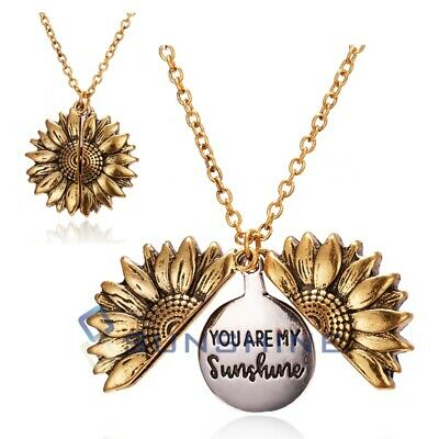 """You Are My Sunshine"" Sunflower Open Locket Pendant Necklace Jewelry Gift"
