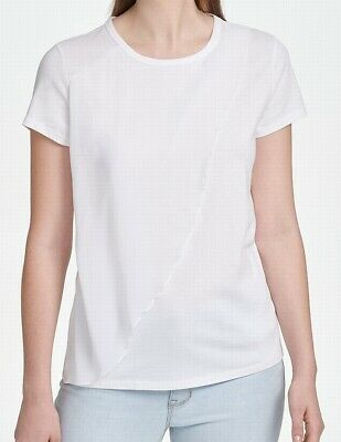 DKNY Women's Blouse Classic White Size Medium M Ruffled Crewneck $59 #436