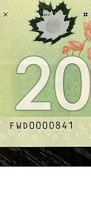Low Serial #0000841 2012 $20 Bank Of Canada - Scarce!