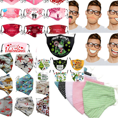 100% Handmade Cotton Washable Cloth Face Mask Cover Pocket Filter Nose Wire Lot