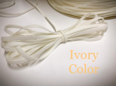 """10 yards Soft Elastic 1/8"""" inch Band 3mm/make face mask/string/thin T181-Ivory"""
