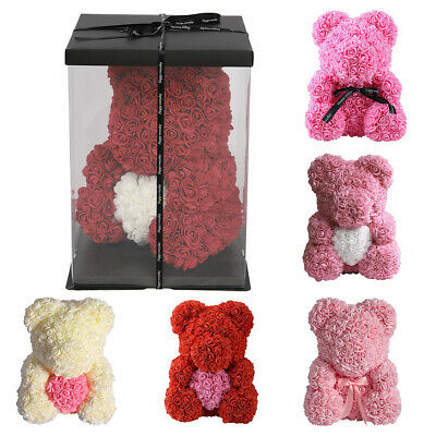 Romantic Rose Teddy Bear Foam Rose Bear Gift For Birthday Wedding Gift 25/40cm
