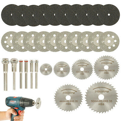 UK 32Pcs Mini Diamond Cutting Discs Wheel Blades Set Drill Bit For Rotary Tool