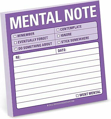 1-Count Knock Knock Mental Note Sticky Notes To Do List Notepads 3x3 inc Gift