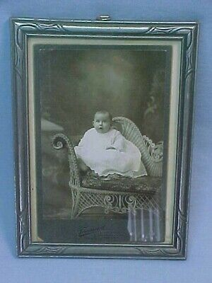 Framed Antique Darling Baby Photograph ~ Great Victorian Wicker Settee ~Nebraska