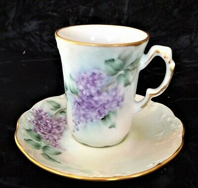 Chocolate Pot Demitasse Cup & Saucer with Purple Flowers Signed