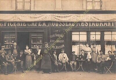 RPPC CARTE PHOTO 76300 SOTTEVILLE café restaurant A. ROUSSEAU