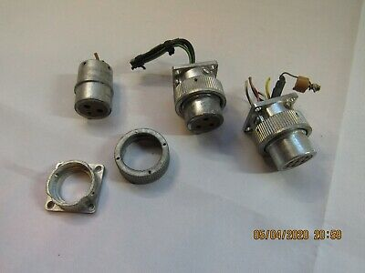 3 Vintage Cannon Female Circular Pin Connectors All Different