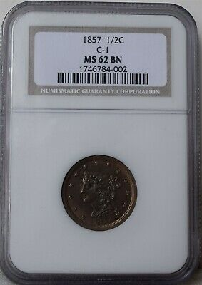 "1857 Braided Hair Half Cent ""C-1"" ""NGC MS62 BN"" *Free S/H After 1st Item*"