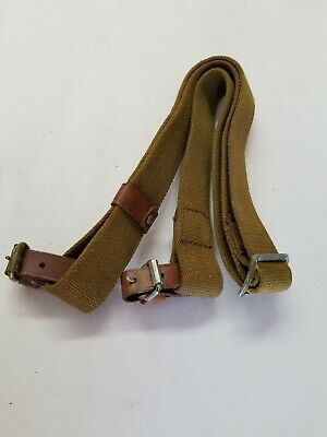 Russian Army Mosin Nagant O.d. Sling With Leather Collars.