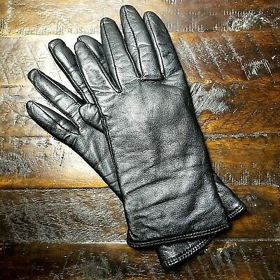 Charter Club Gloves Black Soft Leather Women's w/ Cashmere Blend Lining Size XL