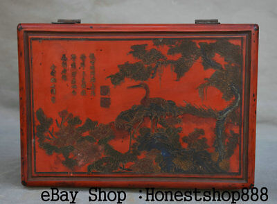 "10.6"" Mark Old China lacquerware Painting Dynasty Palace Crane Pine Jewelry Box"