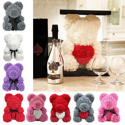 Lovely Rose Teddy Bear Gift Foam Rose Flower Bear Birthday Wedding Gift 25/40CM