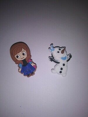 ANNA & OLAF- FROZEN - 2pc SHOE CHARMS FOR CROC SHOES/JIBBITZ BRACELETs - NEW