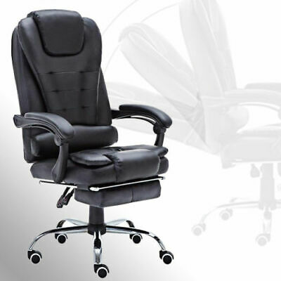 Recliner Office Chair Home Executive Gaming Footrest High Back Fx Leather Chrome