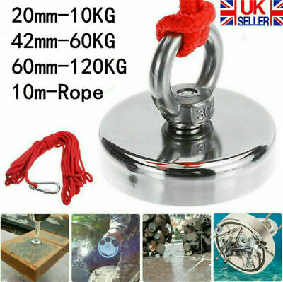 200/300/500kg Double Sided Round Recovery Salvage Neodymium Fishing Magnet +Rope