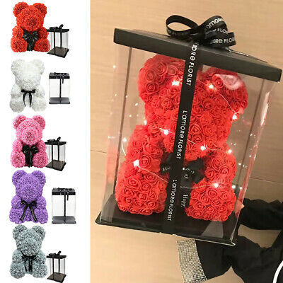 Artificial Rose Teddy Ribbon /Heart Foam Flower Bear And Gift Box Lovers Wedding