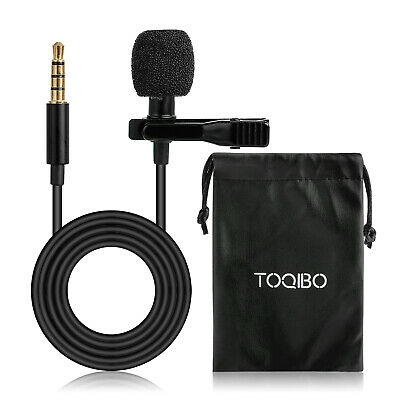 Clip-on Lapel Lavalier Microphone 3.5mm Recording Mic for Phone/PC/Online Course