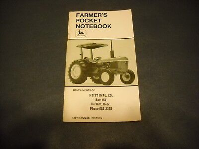 Madison WI 1972 John Deere Farmer/'s Pocket Notebook 106th Annual Edition