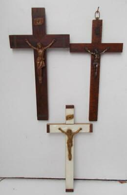 Lot of 3 Vintage French  Religious Cross / Crucifixes