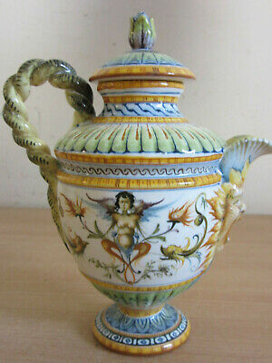 """Fantastic Antique Cantagalli Italy painted Ewer Nude Winged Woman, Face Spout 7"""""""