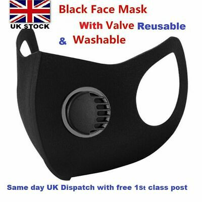 Face Mask Black Washable Air Purifying Mouth Filter Respirator UK Seller