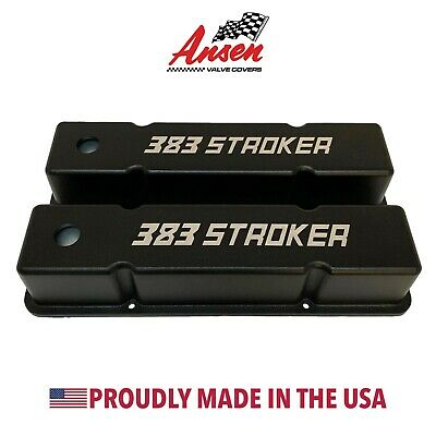 Small Block Chevy 383 STROKER Tall Valve Covers - Black - Ansen USA