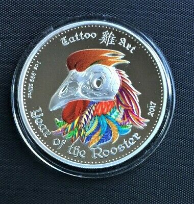 """2015 GHANA """"Lunar Skulls"""" YEAR OF THE ROOSTER 1oz PROOF Silver Coin"""