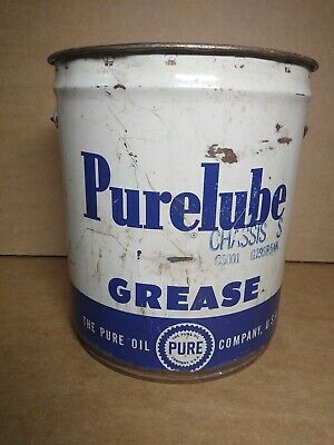 Vintage Pure Purelube Grease 5 Gallon Oil Gas Can Wood Handle Gas Station Empty