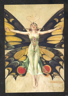 1920's THE FLAPPER GIRL IN BUTTERFLY BEAUTIFUL POSTCARD COPY