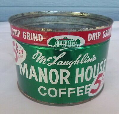 vintage McLaughlin's Manor House Coffee 1 lb keywind tin can Not Opened with key