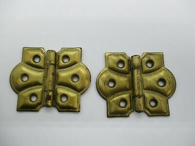Vintage Pair of Stanley Brass Colored Butterfly Cabinet Hinges