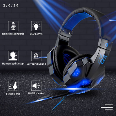 Gaming Headset Stereo Sound Surround w/ mic For Gamers Xbox One PS4 PC Laptop AU