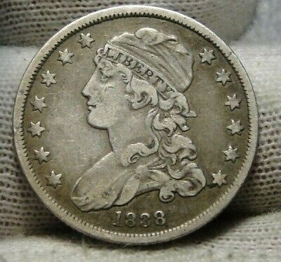 1838 Capped Bust Quarter 25 Cents - Nice Coin, Free Shipping. (9340)