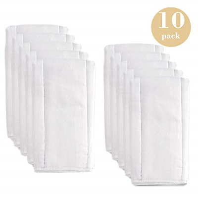 6 Ply Prefold Cloth Diapers Burp Cloth Cotton White Cloths Thick Washable Abs...