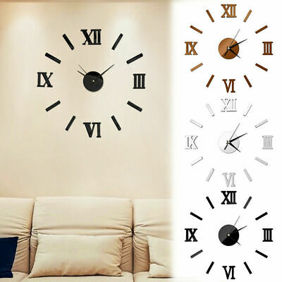 Luxury 3D DIY Wall Clock Roman Numeral Mirror Sticker Home Living Room Art Decor